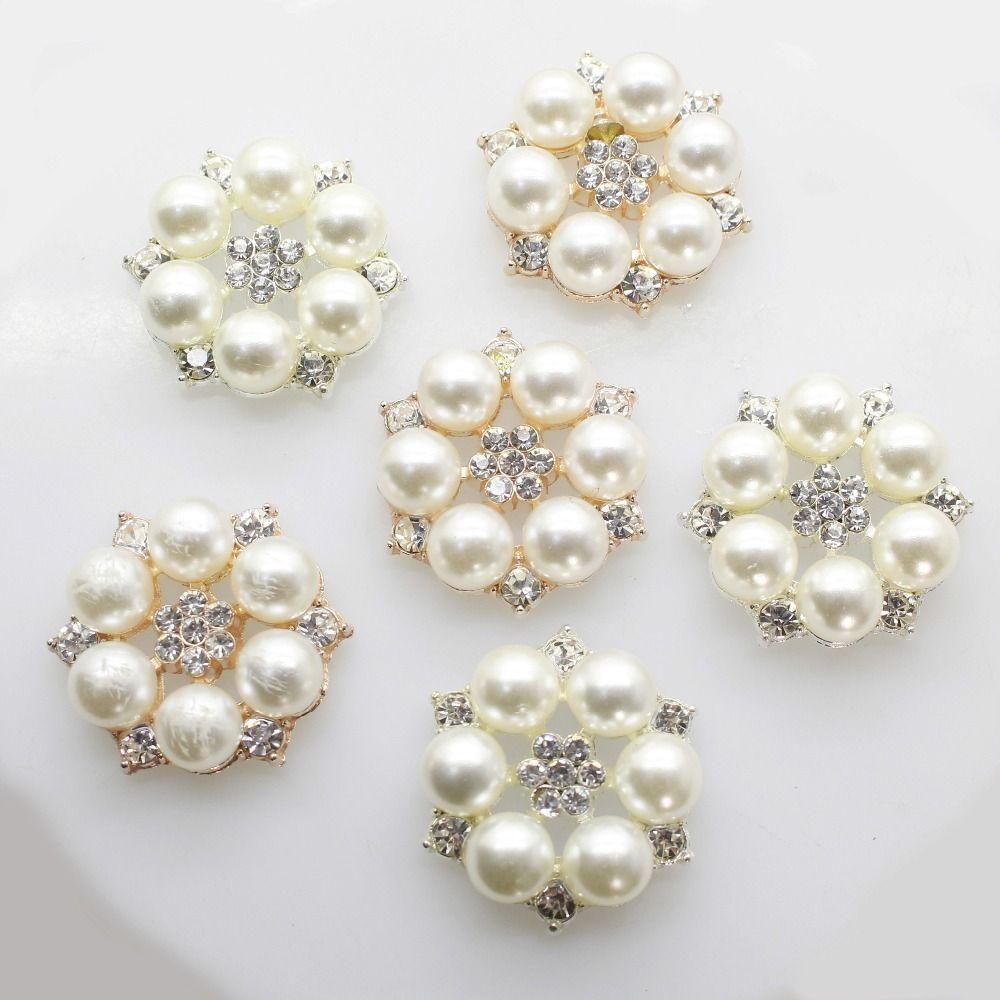 Colored Crystal Rhinestone Pearl Flower Button Flatback Embellishment DIY