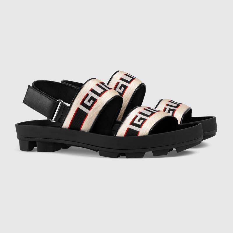 Gucci Stripe Strap Sandal In Gucci Jacquard Stripe Straps Gucci Men S Sandals Slides Strap Sandals Mens Sandals Embellished Leather Sandals