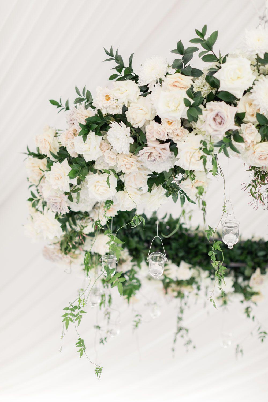 Elegant Tented Santaluz Club Wedding In San Diego Floral Chandelier Wedding Floral Chandelier Wedding Chandelier