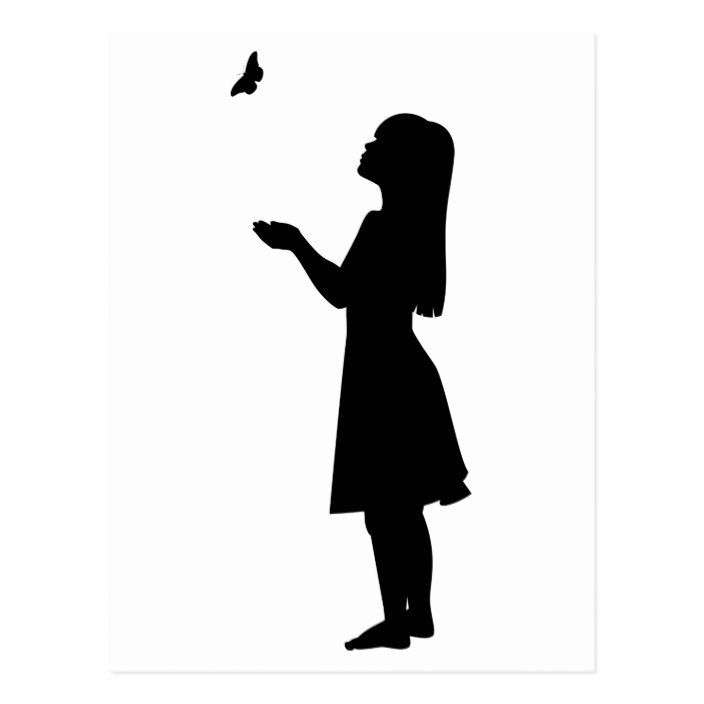Little Girl And Butterfly Silhouette Child Nature Postcard