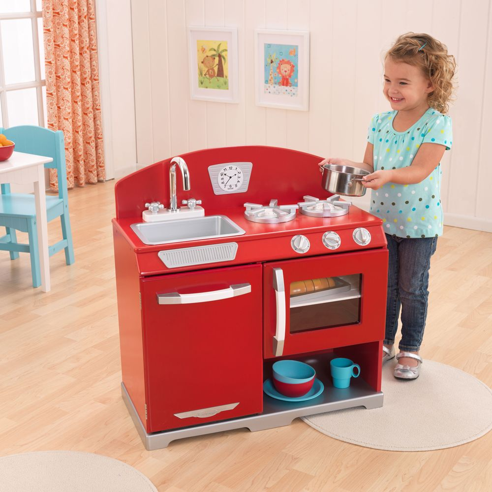 Find Great Deals For Kidkraft Red Retro Vintage Kitchen Stove Oven Kids Wooden Play Set