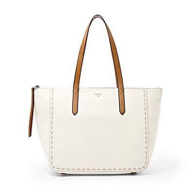 Fossil Purse Sydney Per Shoulder Bag Coconut Zip Closure 100 Leather
