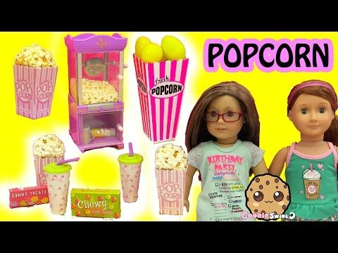 American Girl Doll Popcorn Machine & Pop Corn Box of Surprise Eggs and Mystery Blind Bags