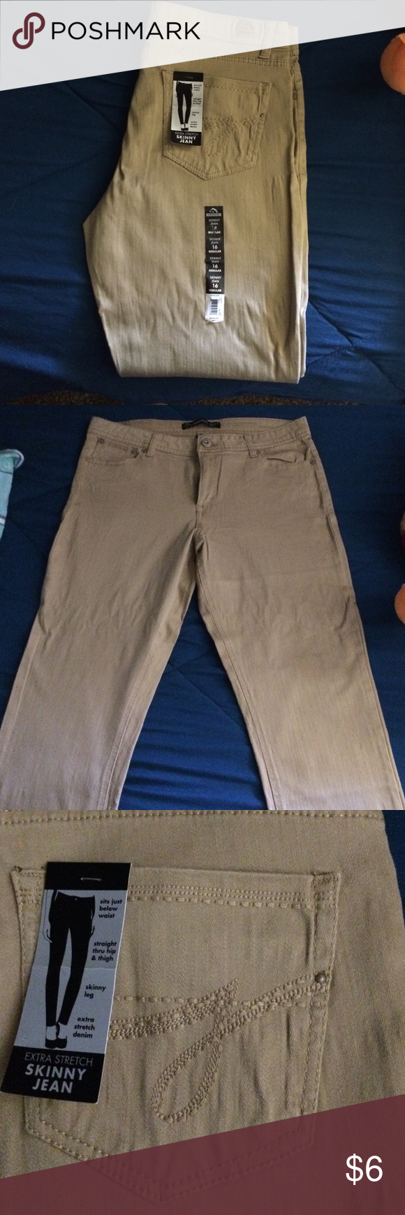 Tan jeans Brand new with tags , tan with embroidered back pockets, Jordache jeans, skinny jean 16 Reg. Extra stretch.. jordache Jeans