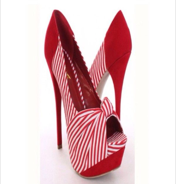 Red & white striped high heels