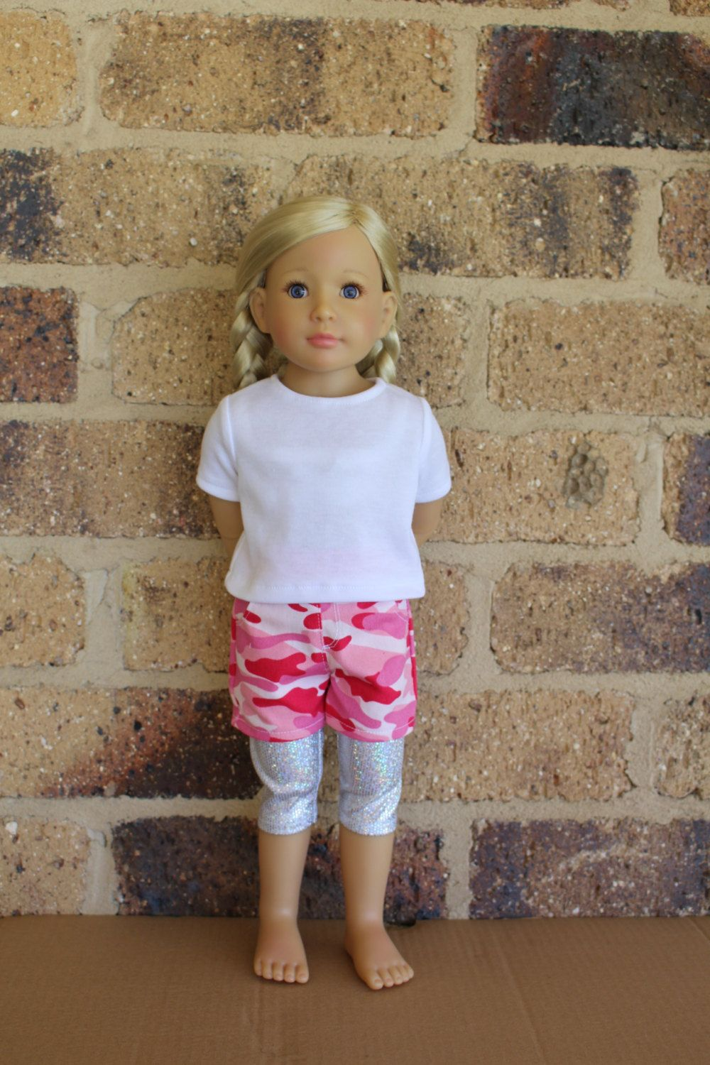 3pc outfit for Kidz n Cats dolls - White Tee, Pink Camoflage Shorts & Sparkly Leggings by SweetSewnups on Etsy