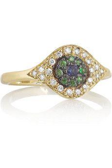 Diamond, sapphire, tsavorite & yellow-gold ring Ileana Makri