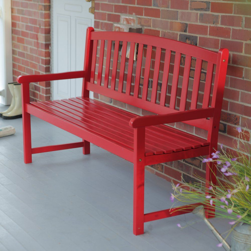 Coral Coast Pleasant Bay 5 Ft Slat Curved Back Outdoor Wood Bench Red Www Hayneedle Com Wood Bench Outdoor Red Patio Red Patio Furniture