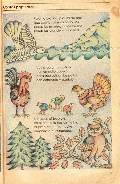 Libros De Primaria De Los 80 S Coplas Populares Español Lecturas 3er Grado Canciones De Niños Letras De Canciones Infantiles Libro De Español