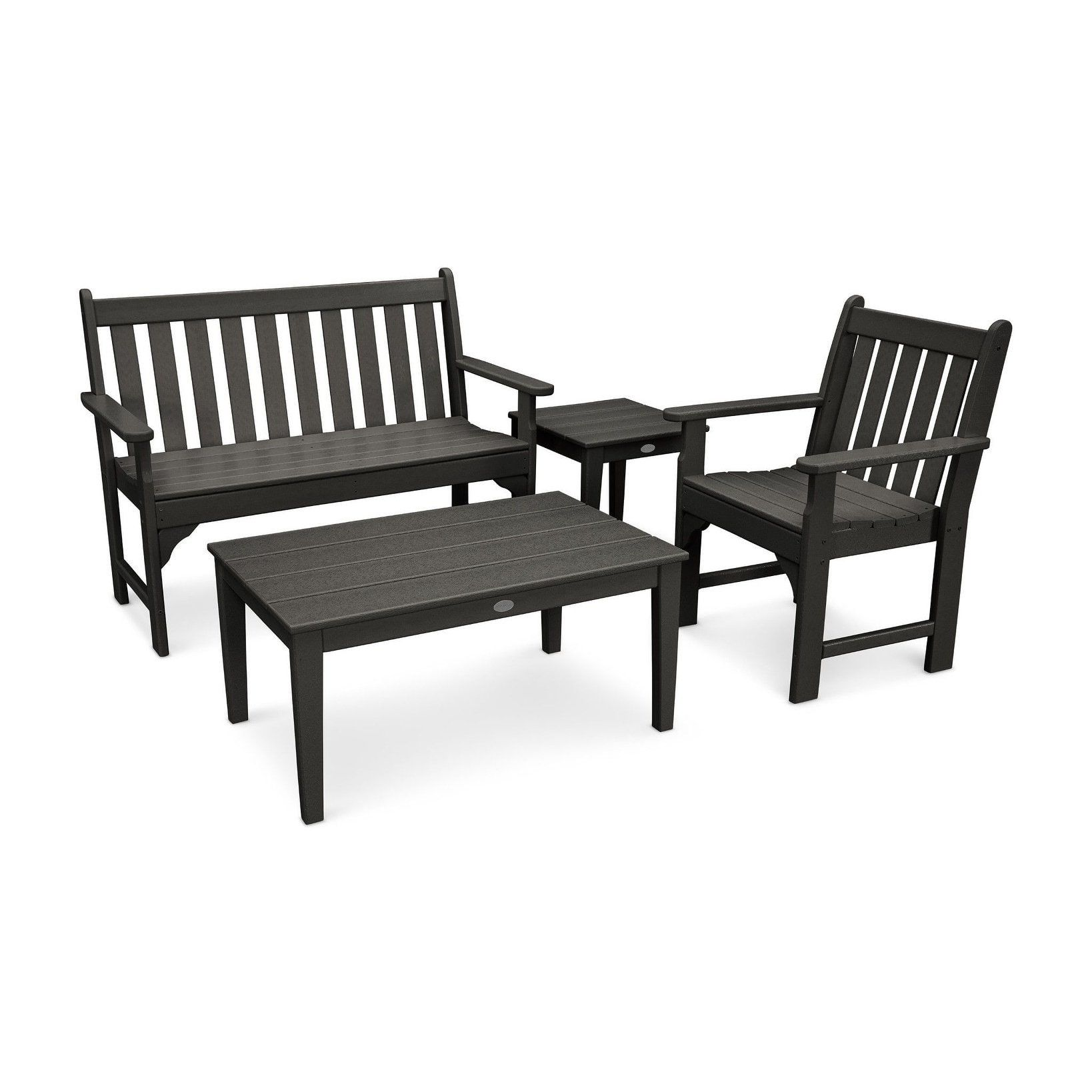 Cool Polywood Vineyard 4 Piece Outdoor Bench Chair And Table Ocoug Best Dining Table And Chair Ideas Images Ocougorg