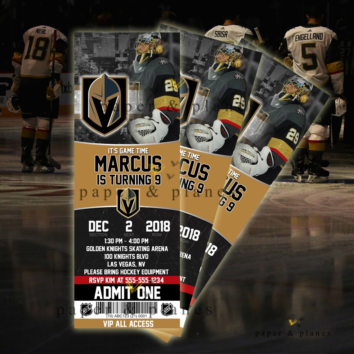 Las Vegas Golden Knights Printable Or Printed Birthday Invitation Hockey Theme Birthday