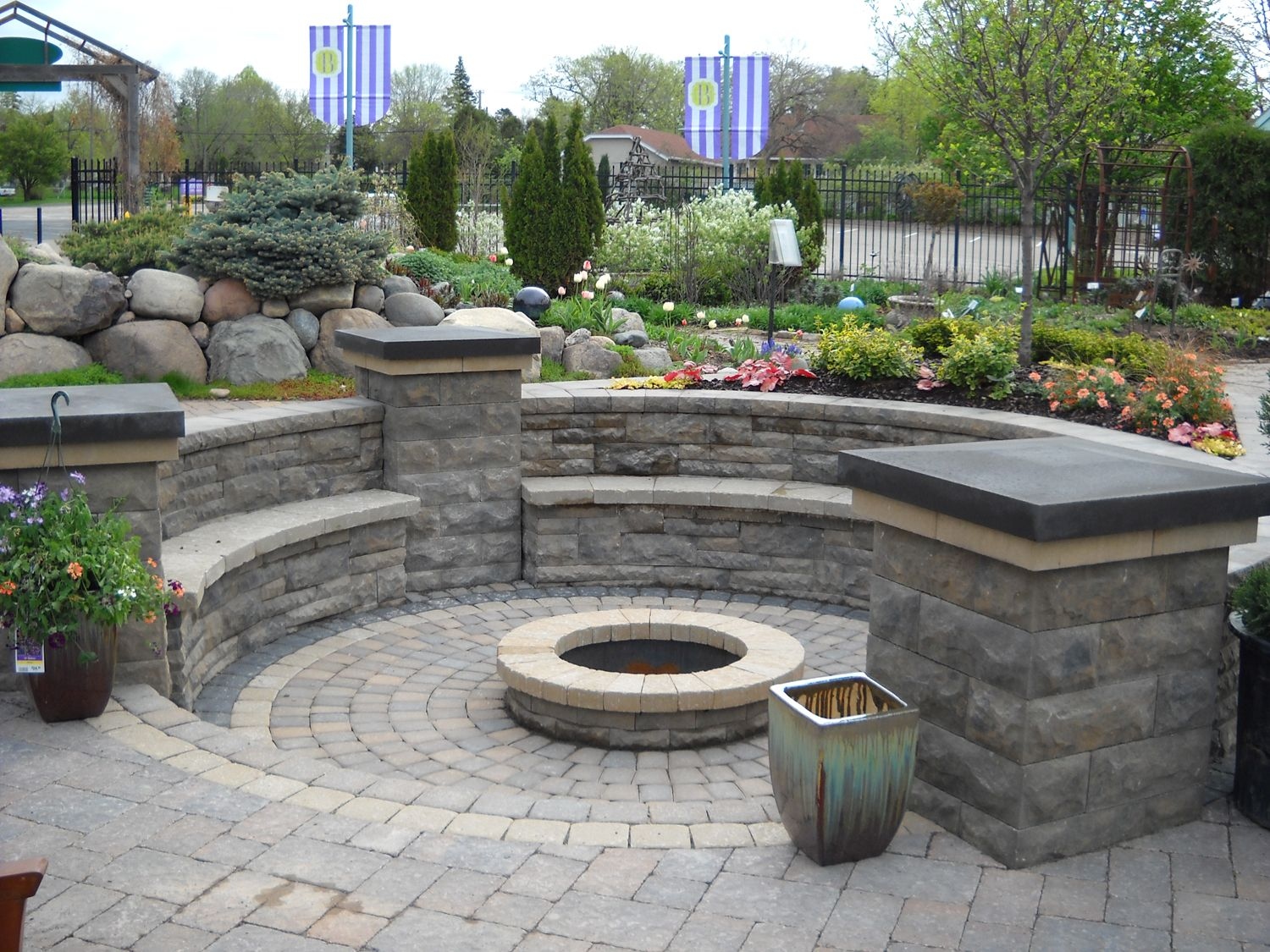 Brick patio with fire pit design ideas fire pit a for Patio water features