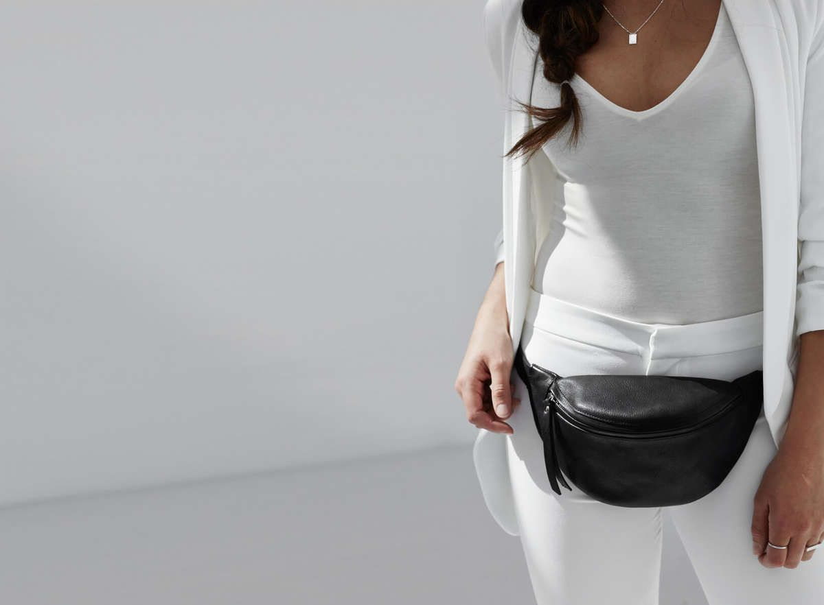 a0d4af6e48 Luxury black leather Fanny pack - by DAPHNY RAES. Designed in Amsterdam and  made in