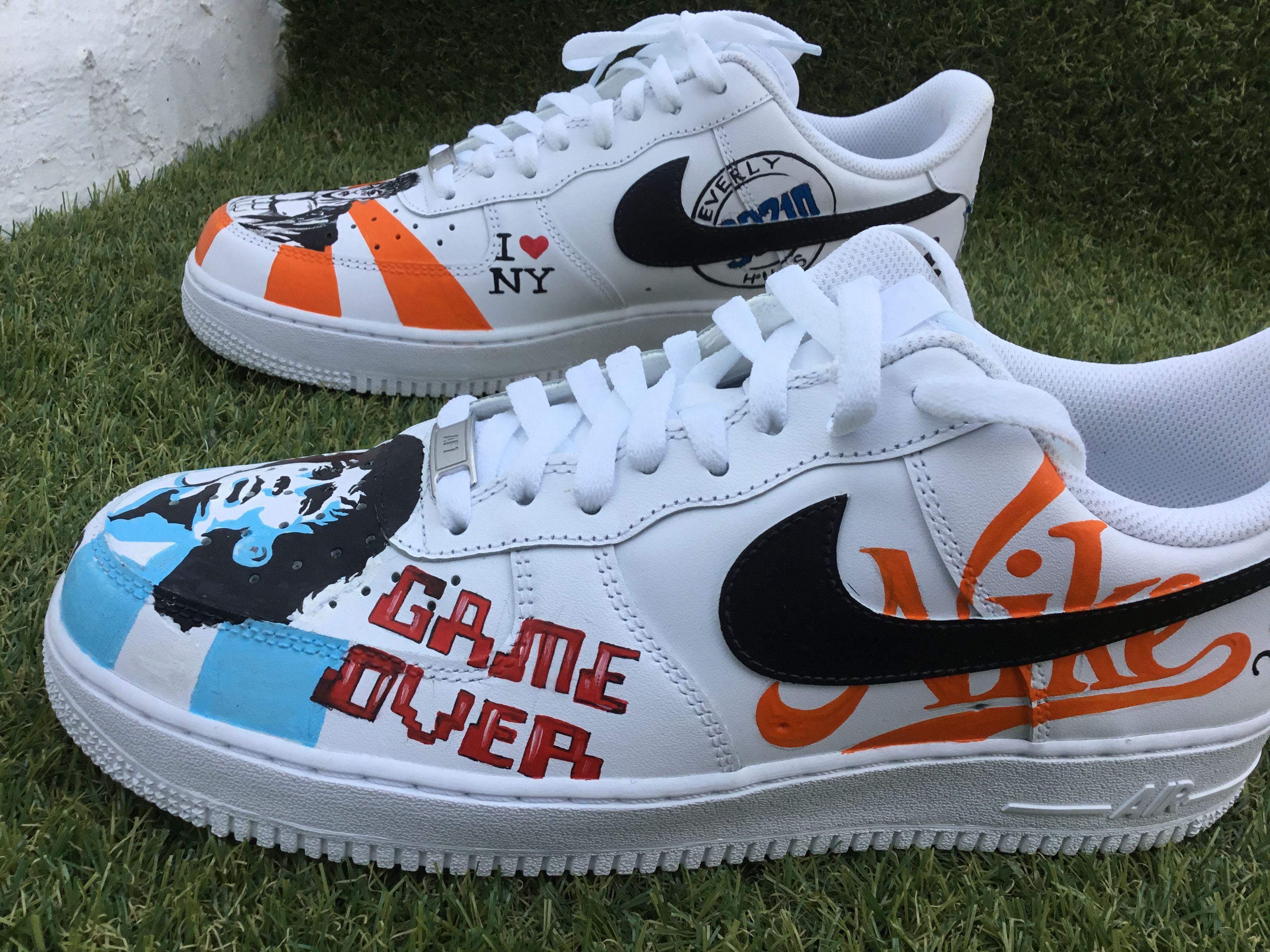 Custom painted Nike Air Force one sneakers by vmixo #vmixo
