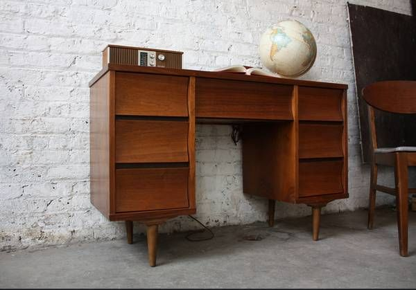 Danish Office Credenza : Mid century modern danish style desk & credenza guest room office