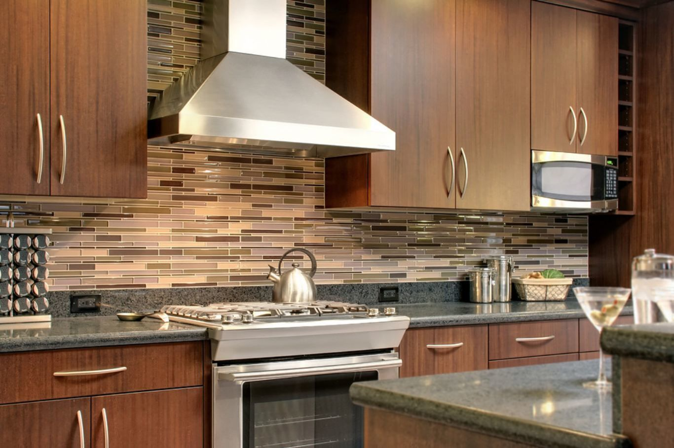 Glass Tile Kitchen Backsplash with with Stainless Steel