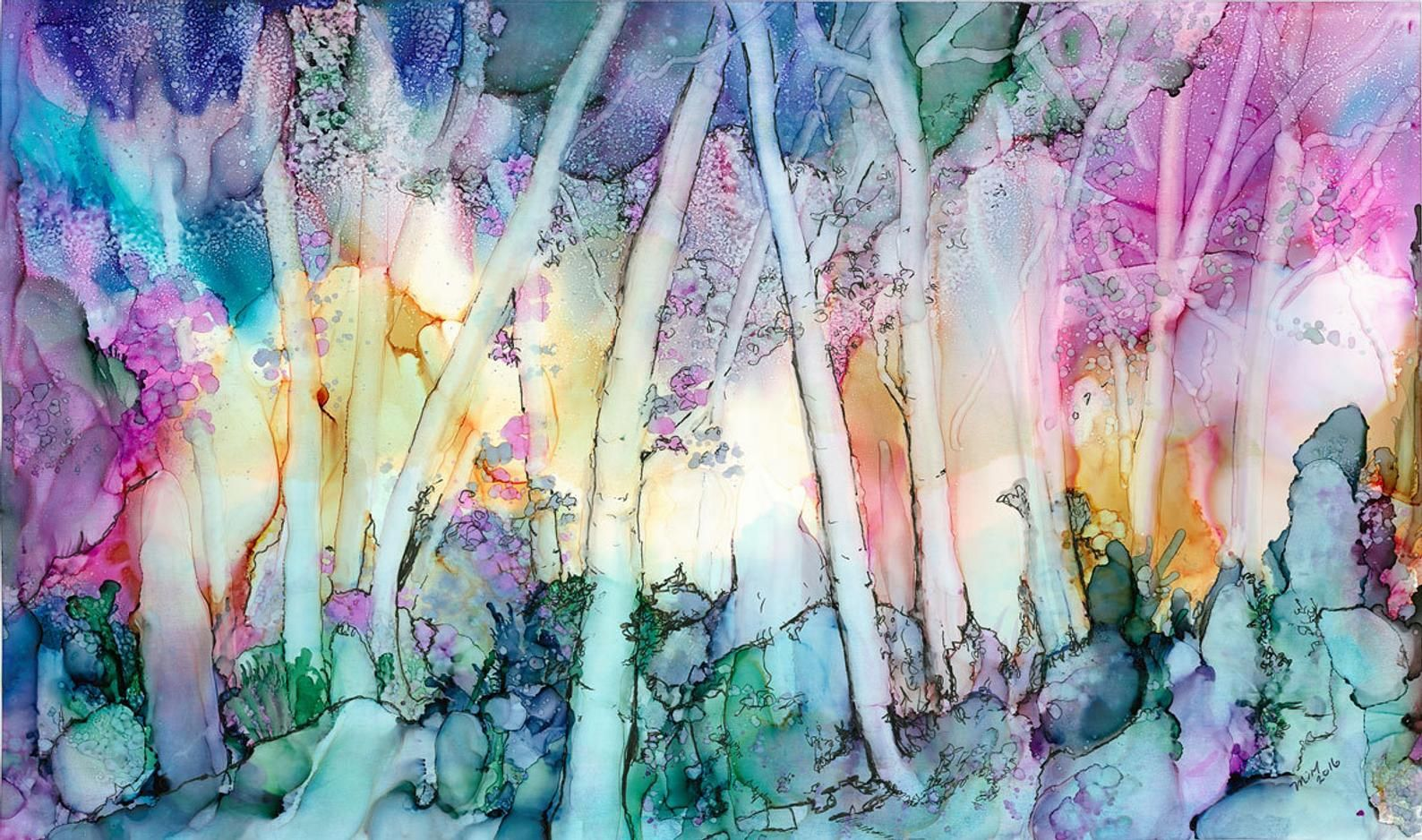 Alcohol Ink Art Print Enchanted Forest On Watercolor Paper With