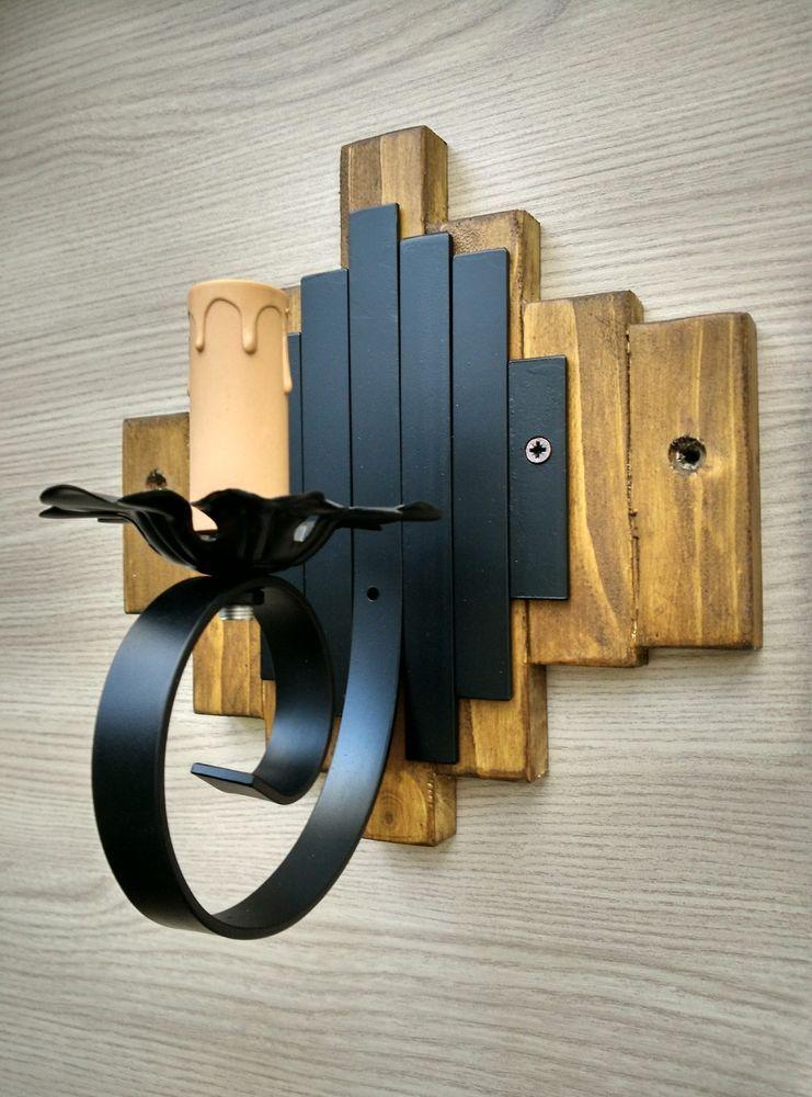 Dettagli su applique rustico ferro e legno da parete 1 for Applique da parete legno