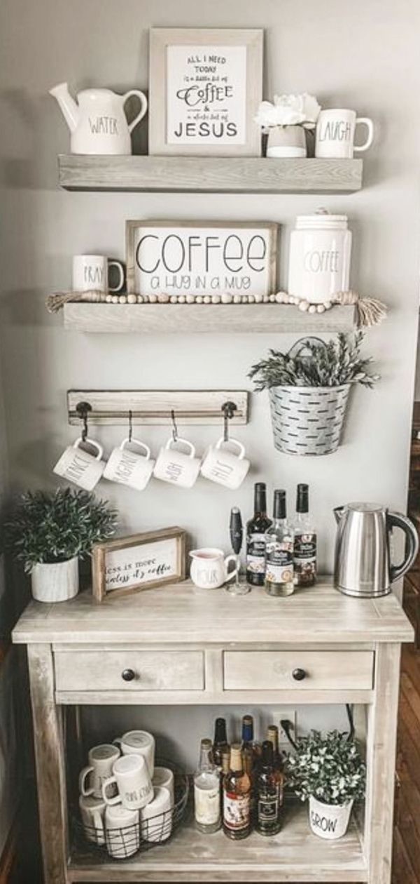 Farmhouse Coffee Station Ideas - Farm Style Coffee Bar Ideas & Pictures For Your Home