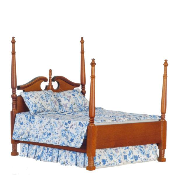 Tudor Style Double Bed Dolls House Miniature Bedroom Furniture 1.12 Scale