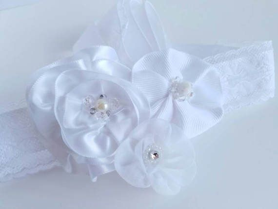 Ribbon Rose Lace Bridal Headband with Freshwater Pearls and Swarovski Accents! https://www.etsy.com/listing/518112005/flowered-lace-ribbon-headband