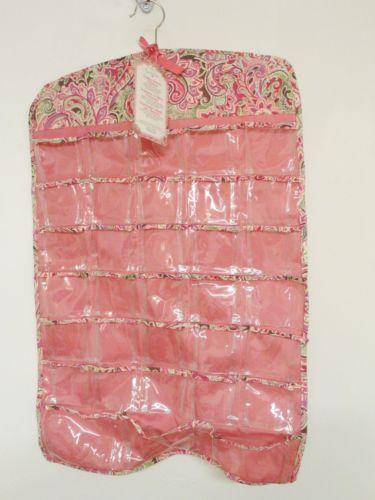 NEW Raymond Waites Hanging Jewelry Organizer Pink Paisley Cloth 37