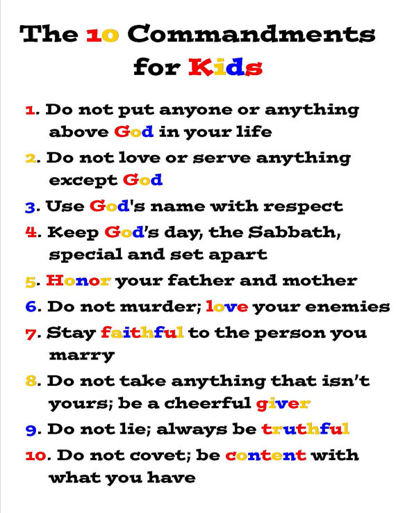 The Ten Commandments for Kids - Exodus 20 - Teaching Printable ...