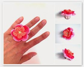 Crochet Flower Ring Free pattern in Dutch and English / gehaakte ring gratis patroon in Nederlands en Engels