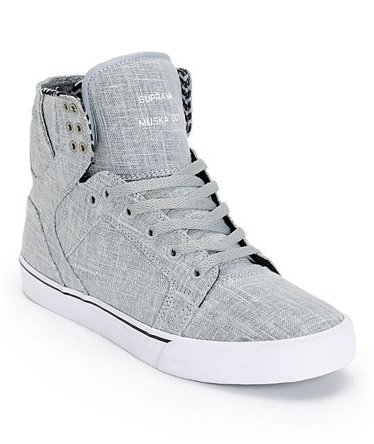 Supra Skytop Grey Linen & White Canvas Skate Shoes | Zumiez