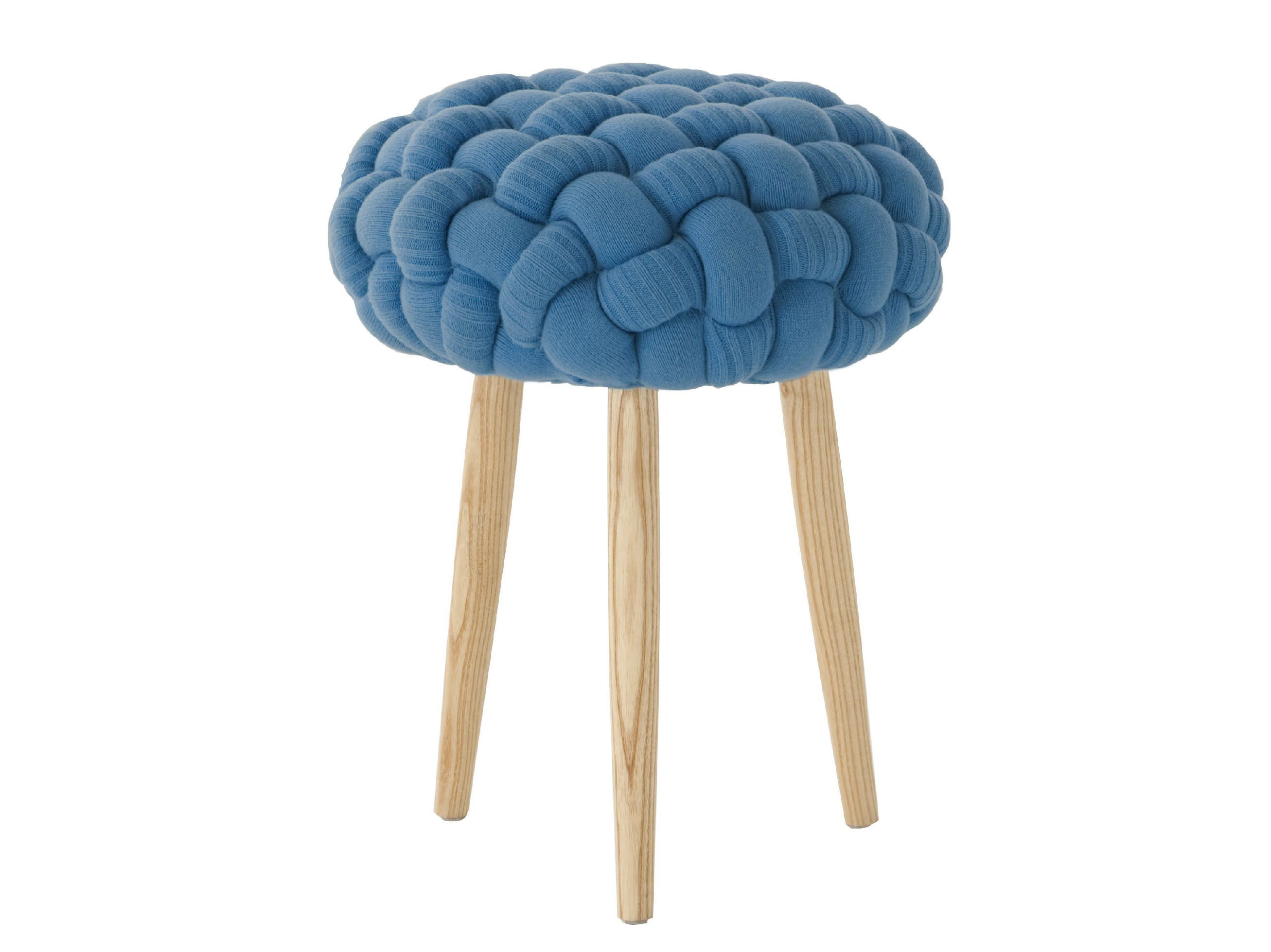 Sgabello imbottito in lana blue knitted stool by gan by gandia