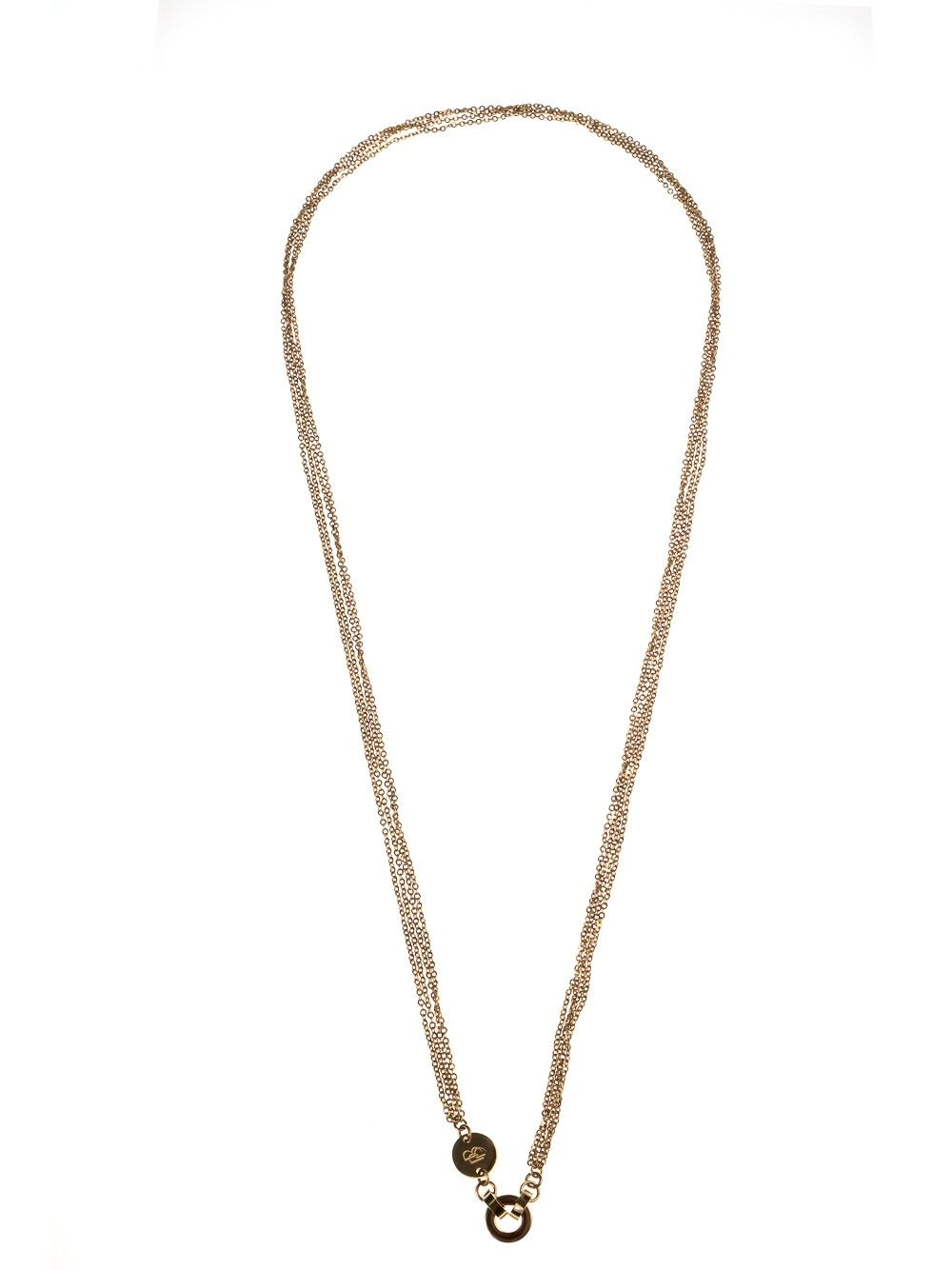 Necklace featuring four stainless steel diamond-chain strands plated with IP 14K gold and clip system - classic, glittering, the necklace brings a voguish look.