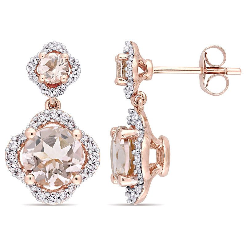 380c8f413 3/8 CT. T.W. Pink Morganite 14K Rose Gold Ear Rings | Products ...