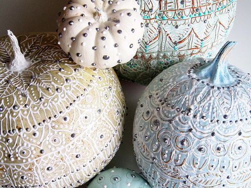 Fancy pumpkins. Be creative and use this idea on fake items to keep for every holiday decor.