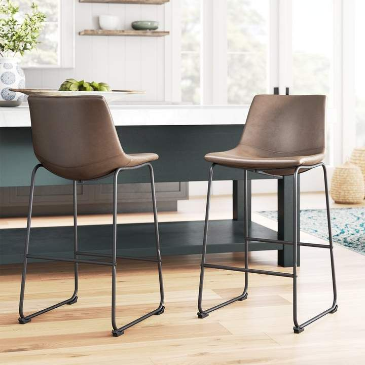 Liara Bar Counter Stool With Images Bar Stools Leather Bar