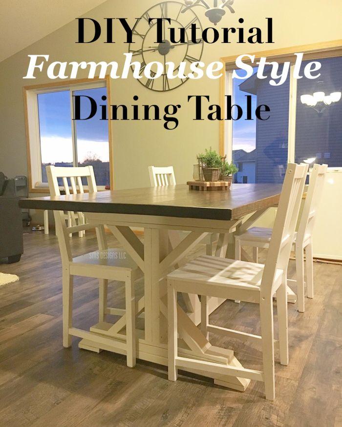 Diy Tutorial Farmhouse Style Dining Table Sms Designs Llc