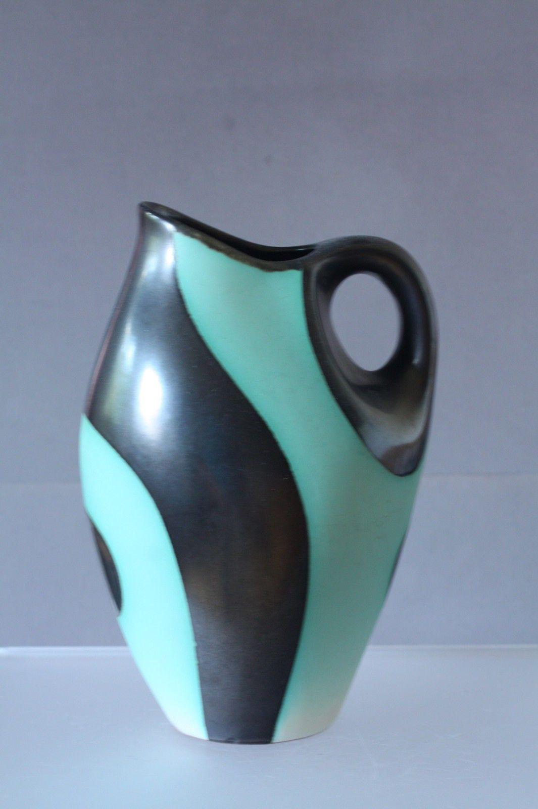Keramik Vase Fritz Van Daalen 1953 Grün Schwarz Organische Form