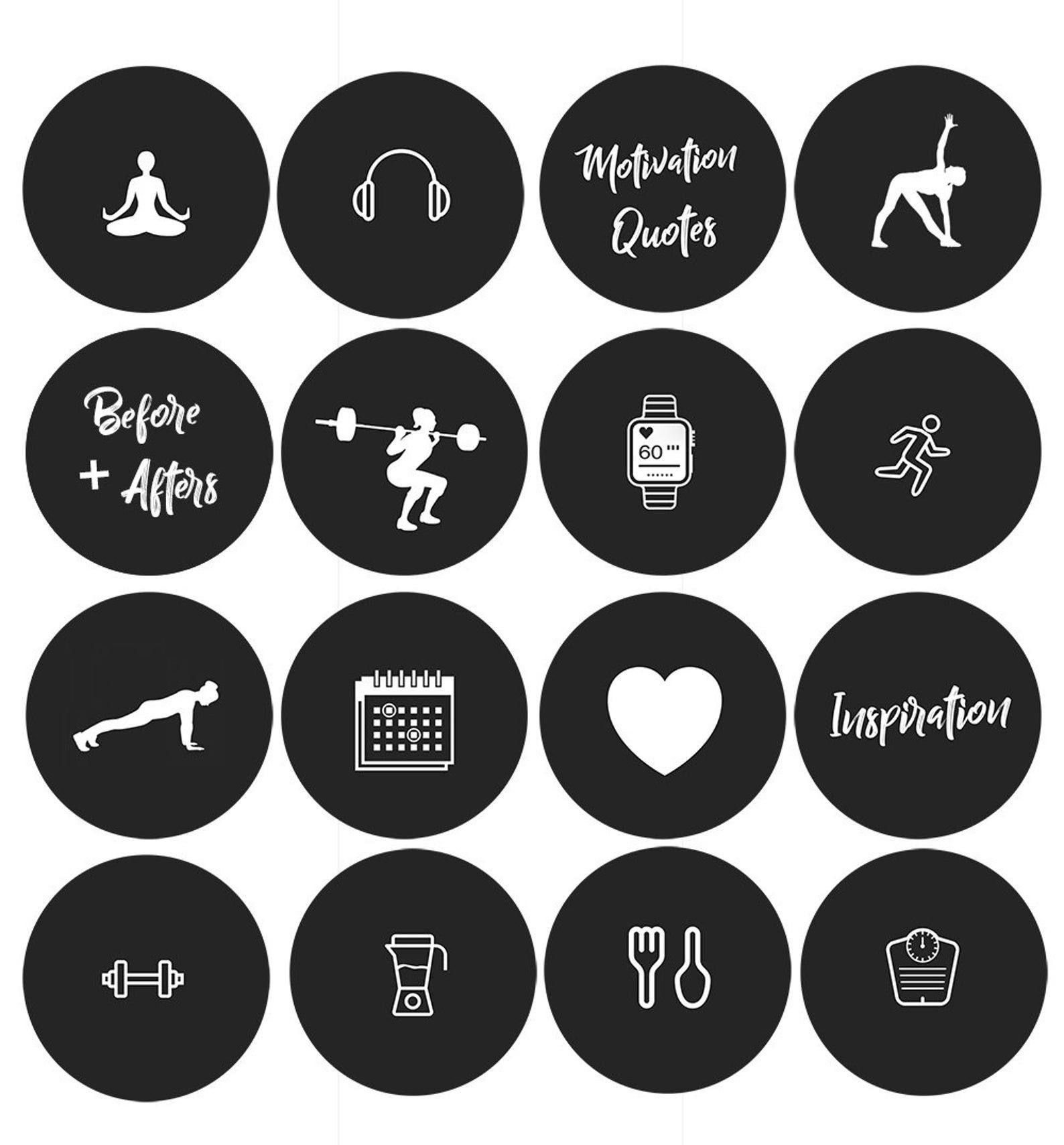 Instagram Story Fitness Highlights Icons Set of 19