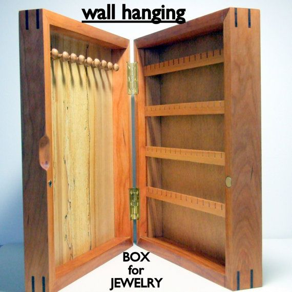 Wall Hanging WOOD JEWELRY ORGANIZER Wall Hung Jewelry Box Cherry