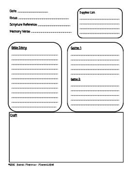 Sunday School Or Lesson Plan Template
