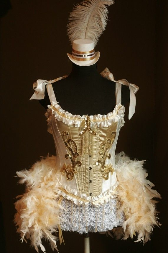 7b3fa41f94b Burlesque Costume Gold OLYMPIAN White Corset 1920s Great Gatsby ...