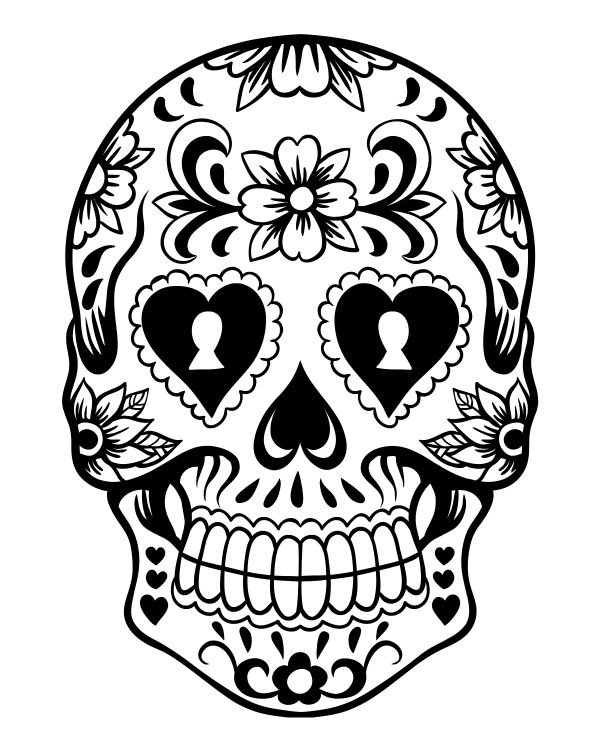 Printable Day of the Dead Sugar Skull Coloring Page 4