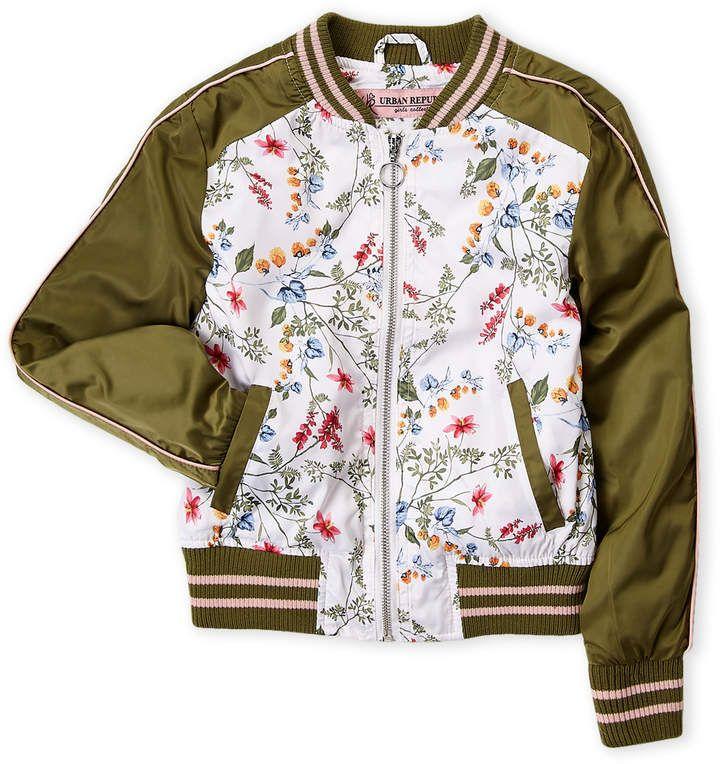 Urban Republic Girls 7 16) Floral Sateen Bomber Jacket