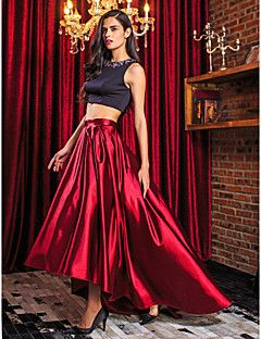 TS Couture® Formal Evening Dress - Two Pieces A-line Jewel Asymmetrical Stretch Satin with Beading – GBP £ 55.99