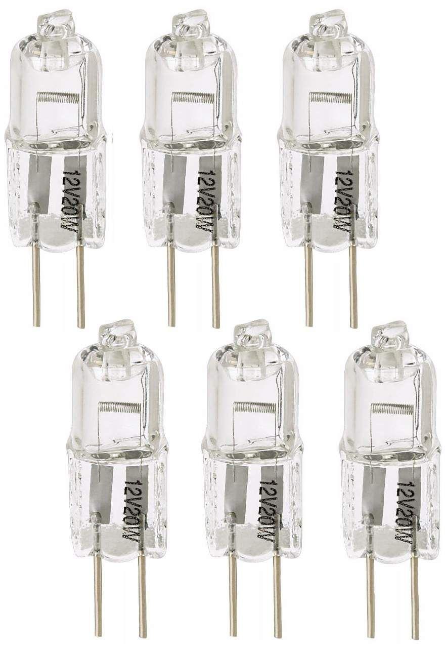 Tesler Clear 20 Watt 12 Volt G4 Bi Pin Halogen Bulb 6 Pack Bulb