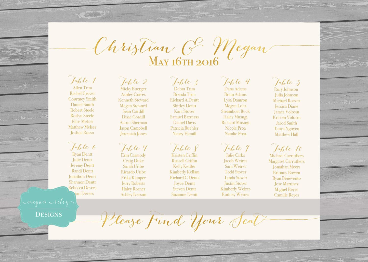 Printable seating chart gold foil faxu wedding alphabetical decoration by also rh pinterest