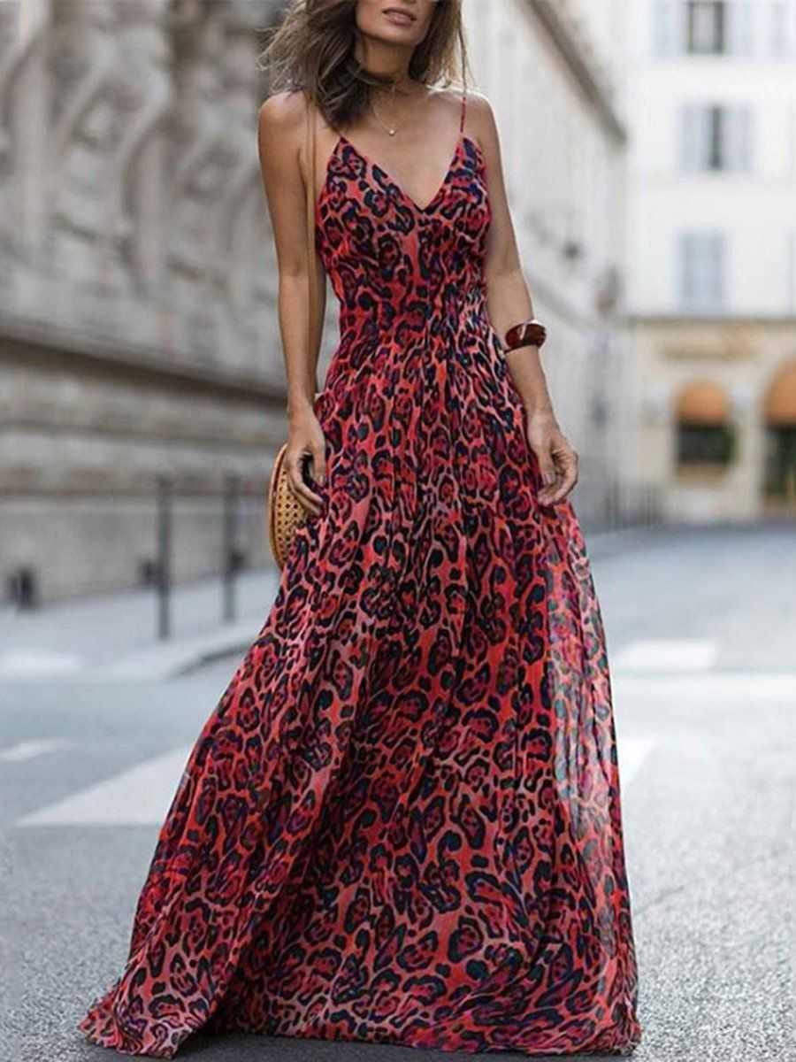 99f009f294 SPECIFICATIONS: Product Name Sexy Red Sleeveless Leopard Print Maxi Dress  Brand Mybesthoney Color Red SKU 6D6FD9811855 Gender Women Style ...
