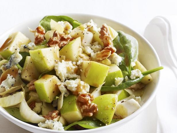 Get Chopped Apple Salad With Toasted Walnuts, Blue Cheese and Pomegranate Vinaigrette Recipe from Food Network