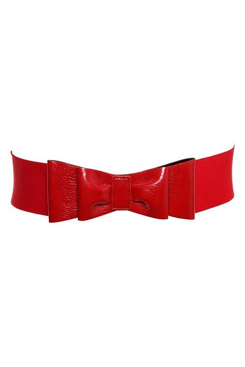 Red Patent Stretch Belt with Bow