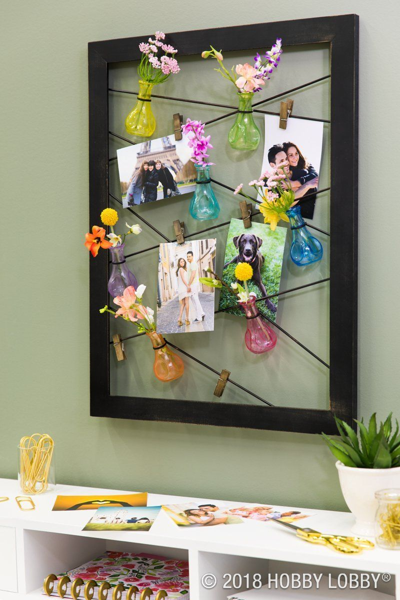 These Bud Vases Add Unexpected Color And Texture To This Wire Photo Holder Diy Home Decor Diy Projects Videos Diy Home Decor Wire Picture Holders