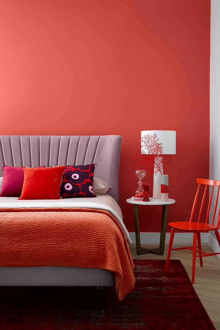 This Season We Re All Crazy For Coral Visit Our Home Of Inspiration For Tips On How To Incorporate Panto Coral Bedroom Decor Bedroom Decor Red Bedroom Design